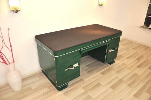Art Deco Schreibtisch, Jaguar Racing Green, Alcantara