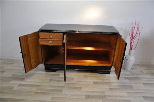 Art Deco Chromliner, Sideboard, Klavierlack
