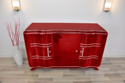 Art Deco Sideboard, MEtallic Rot, Chromlinien