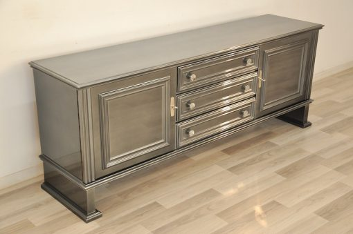 Art Deco Lowboard, Metallic Grau, Tolle Form