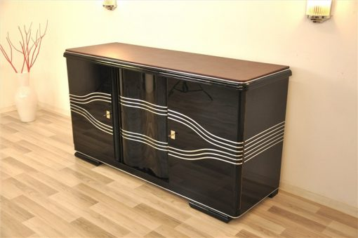 Art Deco Sideboard, Lederplatte, Chromleisten
