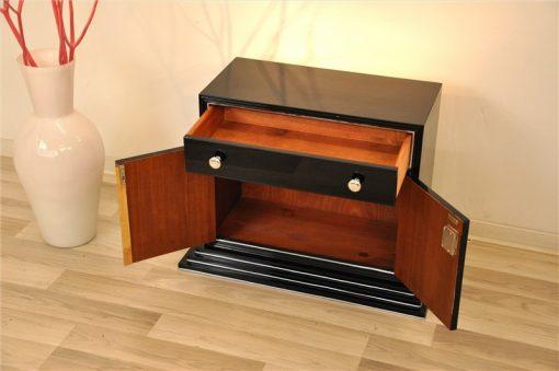 Art Deco Barschrank, Treppenfuß, Hochglanzschwarz