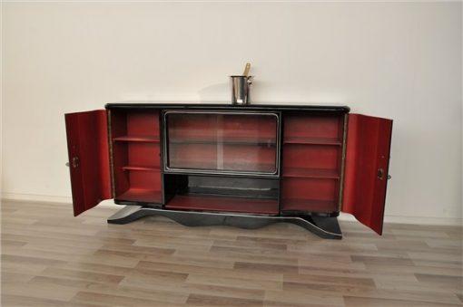 Art Deco Lowboard, Vitrine, Rot