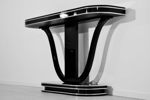 Art Deco Klavierlack Konsole, wundervoller Korpus, Hochglanzschwarzer klavierlack, einzigartiges Design, Frankreich 1932