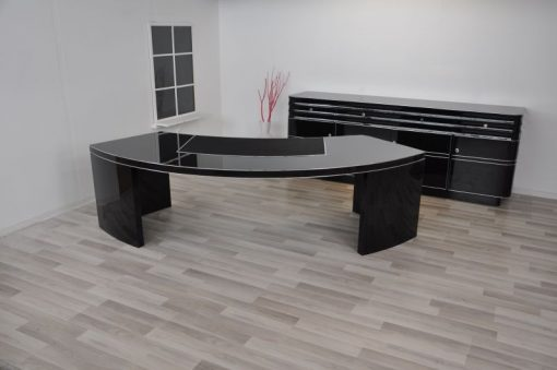 Bauhaus Schreibtisch, Lederplatte, Hochglanzschwarz