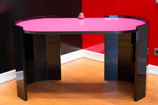 Art Deco Schreibtisch, Hochglanzlack, Handarbeit, Eyecatcher mit toller Farbe, Margarethe Schreinemakers, Rose, Schwarz, hoechste Qualitaet