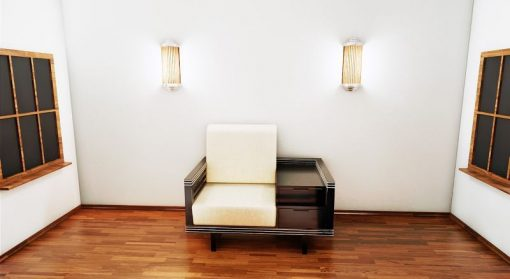 Art Deco Sessel, Hochglanzschwarz, Chromliner