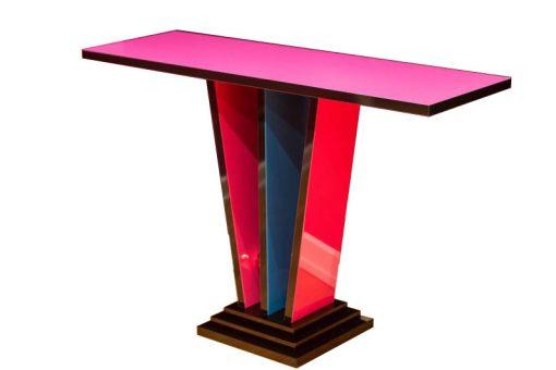Art Deco Konsole, Crazy Art Deco, Margarethe Schreinemakers, streng limitiert, Rosa, Blau,Rot,Schwarz, Konsolentisch, einzigartiges Design