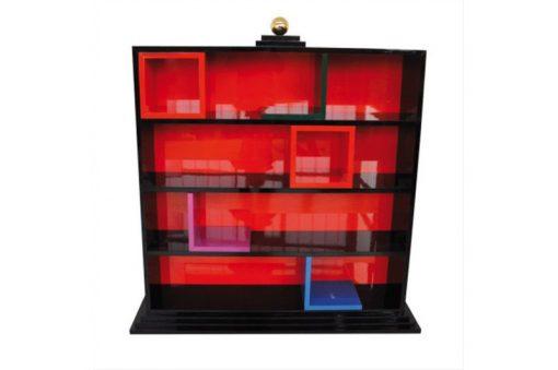 Art Deco Regal, streng limitiert, roter und schwarzer Hochglanzlack, Buchstützen, Rueckwand aus Glas, Margarethe Schreinemakers