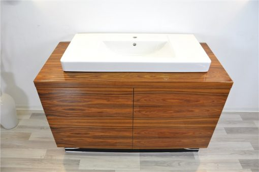 Art Deco Waschtisch, einzigartiges Furnier, Santos- Palisanderholz, Villeroy&Boch, Klavierlack, mattschwarzer Innenleben