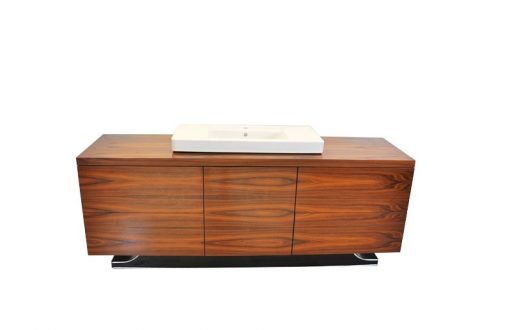 Art Deco XXl-Waschtisch, Santos-Palisanderholz, Villeroy&Boch, hochglanzschwarzer Fuß, einzigartiges Design