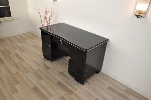 Art Deco Schreibtisch, Klavierlack, Lacobellglasplatte, Abschliessbar, schlichtes Design