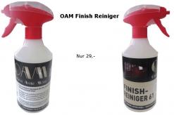 OAM Finish Reiniger, Möbel Reiniger, Perfekt für lackierte Oberflächen, Glas- und Spiegelreiniger, Streifenfrei, antistatischer Schutzfilm