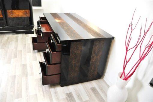Art Deco Schreibtisch, hochglanzschwarzer Klavierlack, Lederapplikationen in Schlangenoptik, 9 Schubladen