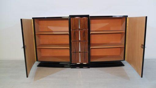 Art Deco Sideboard, einzigartiges Palisanderholz, hochglanschwarzer Klavierlack, Chromgriffe, sauberes Innenleben, Frankreich, 1928