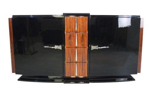 Art Deco Esstisch, Rio-Palisander, Klavierlack, Lacobellglas, wundervoller Fuß, Frankreich 1930