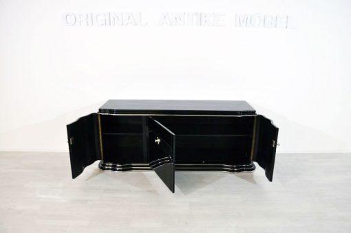 Art Deco Sideboard. Lowboard, Longboard, Spiegelstreifen, geschwungene Fluegeltueren