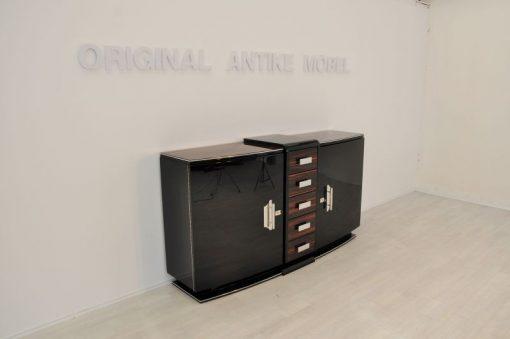 Art Deco Sideboard, einzigartige Formensprache, tolles Design, Makassarholz, Fluegletueren