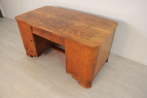 Art Deco, Original, Schreibtisch, Wurzelholz, Antik, Vintage, tolles Furnierbild, geschwungene Tueren, einzigartige Tischplatte