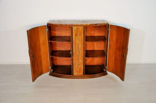 Art Deco, Nussbaum, Kommode, Sideboard, bunte Mamorplatte, Originalmoebel, Antik, 1920, Messinggriffe, geschwungene Tueren