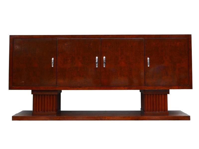 art deco sideboard mit gro en s ulen aus nussbaumholz. Black Bedroom Furniture Sets. Home Design Ideas