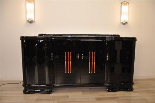 Art Deco, Sideboard, Buffet, beleuchtet, geschwungene Tueren, Glasstaebe, Moebel, hochgglanz Oberflaeche, einzigartig, Klavierlack, franzoesisch