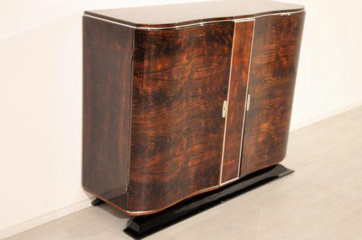 Art Deco, kommode, Sideboard, Buffet; Walnuss, Holz, Handarbeit, Klarlack, Hochglanz, einzelstueck, geschwungene Tueren, klavierlack Fuß