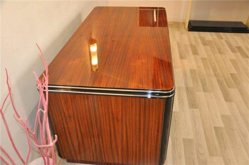 Art Deco Schreibtisch, beidseitig nutzbar, schiebetuer, wohnzimmer, buero, moebel, palisander, schubladen, design, Klavierlack