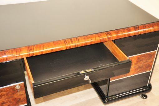 Art Deco, Hochglanz, Schreibtisch, Wurzelholz, Details, handpoliert, Oberflächen, Original, Vintage, Antike, Glasplatte, Lacobell, Buero