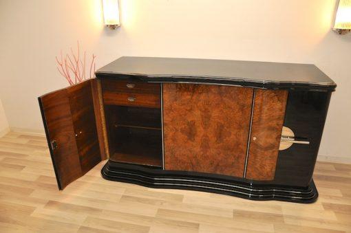Art Deco, Design, Sideboard, geschwungen, serpentinen tueren, Aera, Buffet, Credenza, Klavierlack, Walnussholz, Wohnzimmer, Moebel
