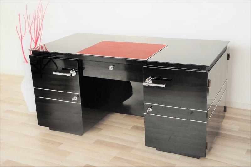 franz sischer art deco schreibtisch mit alcantara akzenten original antike m bel. Black Bedroom Furniture Sets. Home Design Ideas