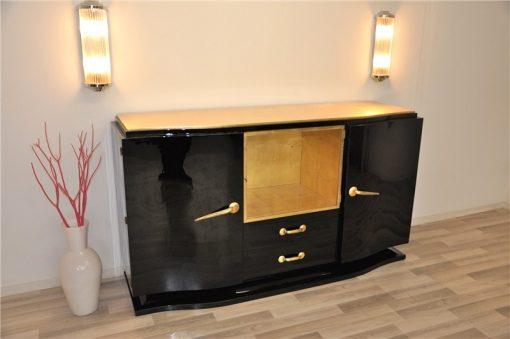 Art Deco, Sideboard, Buffet, Credenza, Schwarz, Hochglanz, elegant, Handpoliert, Wohnzimmer, Vitrine, Einzelstueck, Restauriert
