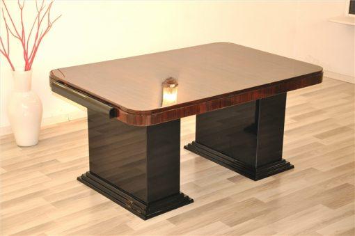 Art Deco, Schreibtisch, Makassar, Tischplatte, Moebel, Design, Büro, Tisch, Edel, Original, Hochglanz, Pyramidenfuß, Schlicht