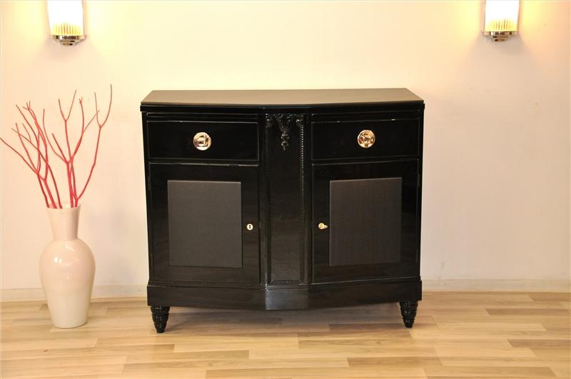 schwarze art deco kommode mit lederapplikationen original antike m bel. Black Bedroom Furniture Sets. Home Design Ideas