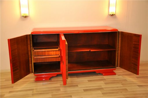 Art Deco, Buffet, Sideboard, rot, feuerrot, wundervoller Farbton, Antik, Vintage, Design, lackiert, handpoliert, elegant, Wohnzimmer, Moebel