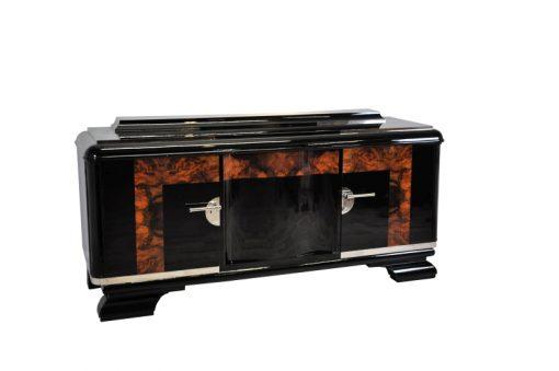 Art Deco, Moebel, Sideboard, Aufbewahrung, Buffet, Schrank, Wurzelholz, Details, Wohnzimmer, Antik, Restauriert, hochglanz, Chrom