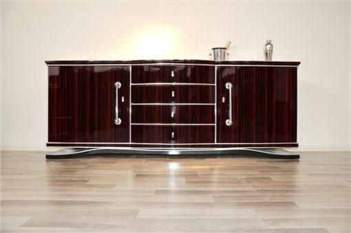 Art Deco, Original, Sideboard, Makassar, Design, Moebel, Furnier, XXL, Buffet, Schrank, hochglanz, Chromgriffe, Stauraum, handgefertigt