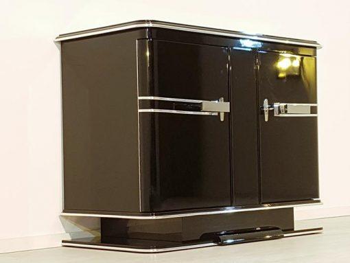 Kommode, Moebel, Wohnzimmer, Frankreich, Art Deco, Klavierlack, Stilmoebel, schwarz, Design, Luxus, grünes Innenleben, Chrom
