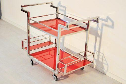 Art Deco, Barwagen, vintage, Hochglanz, Bar, Handarbeit, made in Germany, design, modern, Wohnzimmer, zeitlos, rot, Chrom