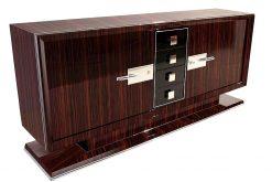 Art Deco, Moebel, Sideboard, Design, Makassar, Funier, Chromgriffe, Luxus, Wohnzimmer, Frankreich, eleganter Fuß, Stilmoebel