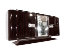 Moebel, Art Deco, Sidboards, Makassar, Funier, Wohnzimmer, Luxus, Frankreich, Braun, Design, Stilmoebel, Vitrinenfach, groß