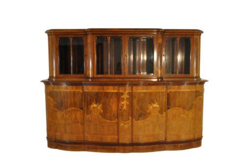 Art Deco, Sideboard, Kommode, Vitrinenaufsatz, Intarsienholz, Handgearbeitet, 1920, unrestauriert, individualisierbar, Glas