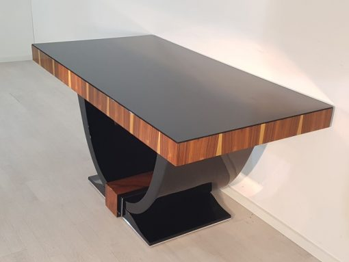 Art Deco, Tables, dining table, furniture, palisander, luxurious, wood, french, 1930s, high gloss, glass top, interior design