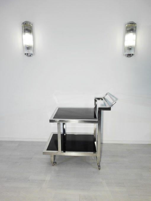 Bauhaus, Servierwagen, hochglanz, Barwagen, Design, Innendesign, Luxus, Hotelmoebel, Moebel, Bar, elegant, Chrom, Lacobel, Glas, schwarz