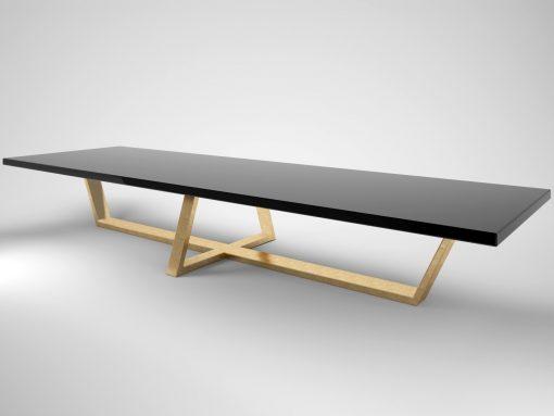 Schwarz, Gold, XXL, Esstisch, grosser Tisch, Moebel, Fünf Meter, Design, 500cm, Tafel, Klavierlack, Blattgold, Design, Innendesign
