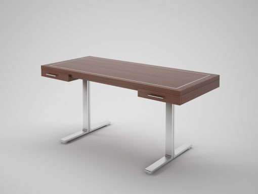 Schöner Design Schreibtisch aus edelen Palisanderholz und mit eleganten Stahlfueßen. Bietet eine tolle Intersie in der Tischplatte.