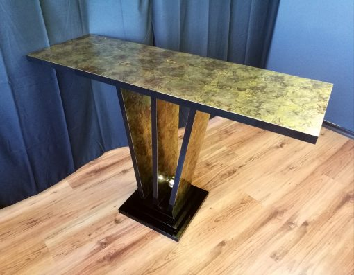 Konsolentisch, Design, Art Deco, Innendesign, Tisch, Konsole, Luxus, Metall, Bronze, Gold, Farbe, Treppenfuß, elegant, Wohnzimmer