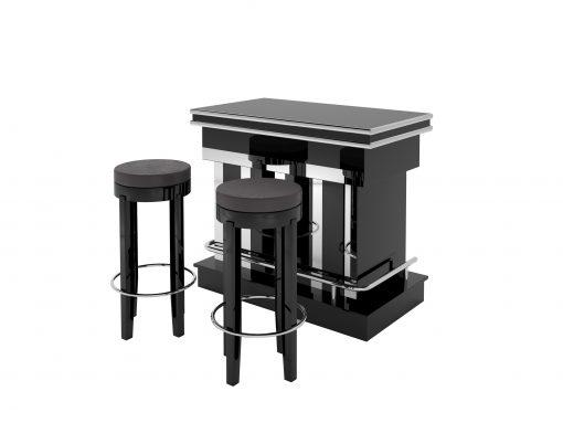 Luxuriöse Art Deco Design Bar mit Klavierlack und Chromappliaktionen. Bietet ein einzigartiges Design und zwei Barhocker.