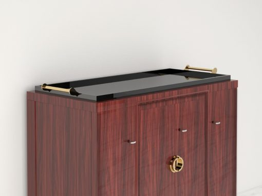 Palisander Kommode oder Sideboard mit polierten Messinggriffen, Tablet-Aufsatz, Luxus-Moebel, Design-Moebel, Schrank, Aufbewahrung, Innendesign