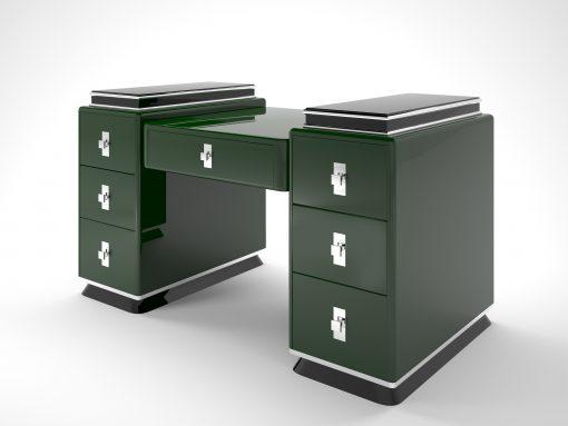 Moderner Design Tower Schreibtisch, Jaguar Racing Green, außergewöhnliches Finish, Hochglanz, lack, Designmoebel, Innendesign, Luuxus